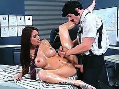 Gia DiMarco attains oiled by Johnny Sins at the same time as massage he gives her. Pal is playing with