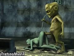 Sexy 3D cartoon cat babe gets fucked by an alien